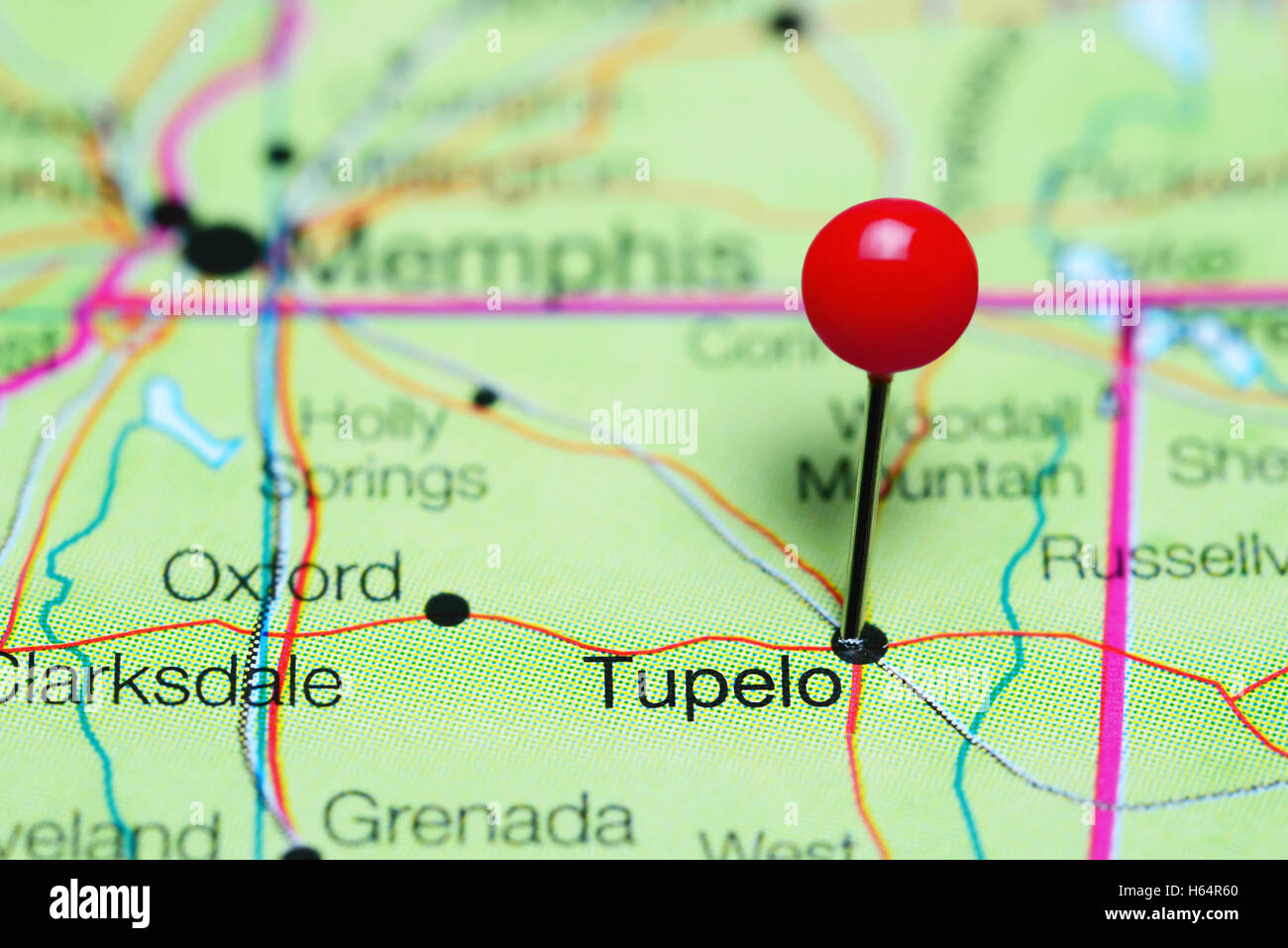 Tupelo pinned on a map of Mississippi, USA - Stock Image