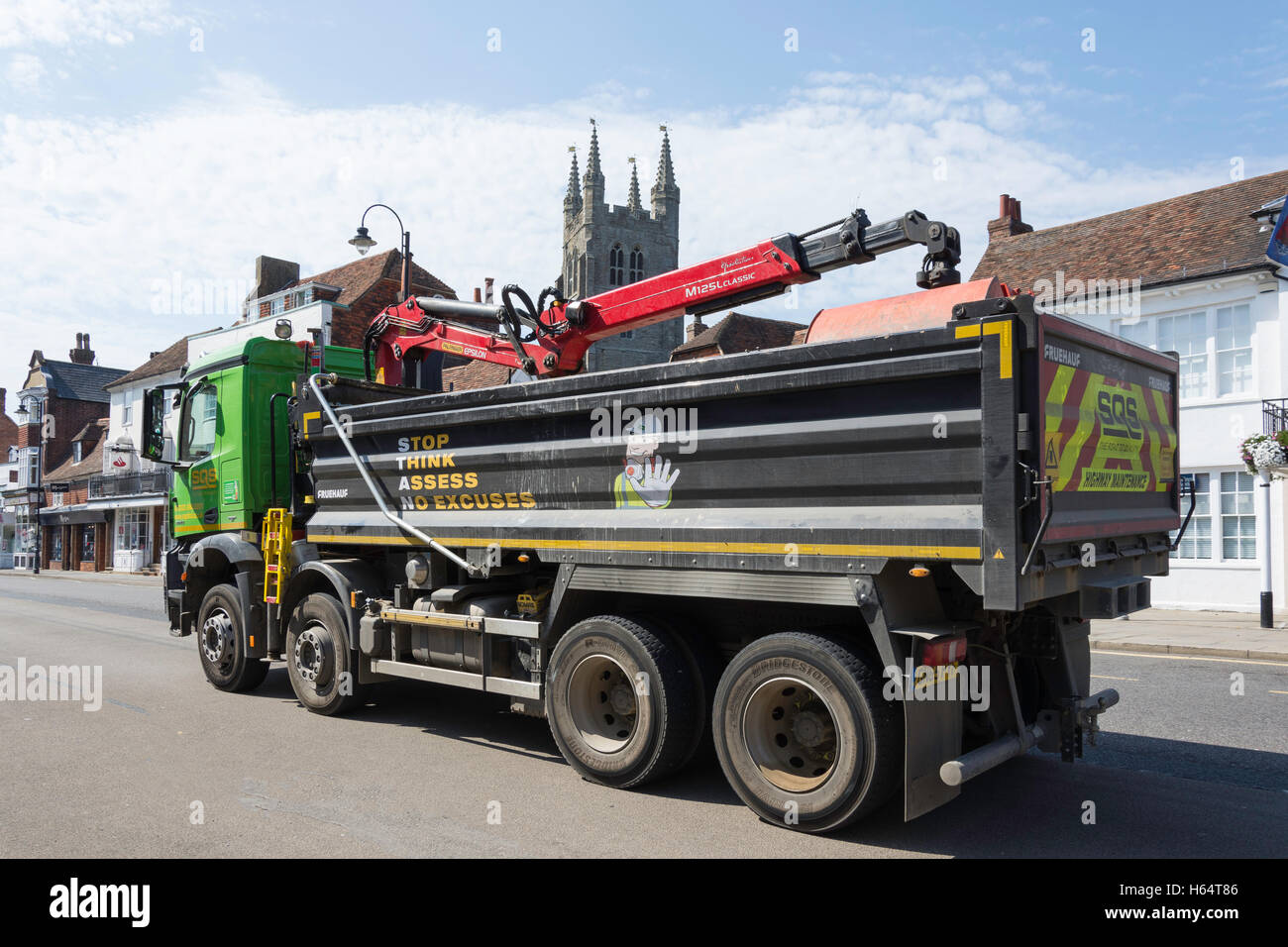 Heavy lorry driving on High Street, Tenterden, Kent, England, United Kingdom - Stock Image