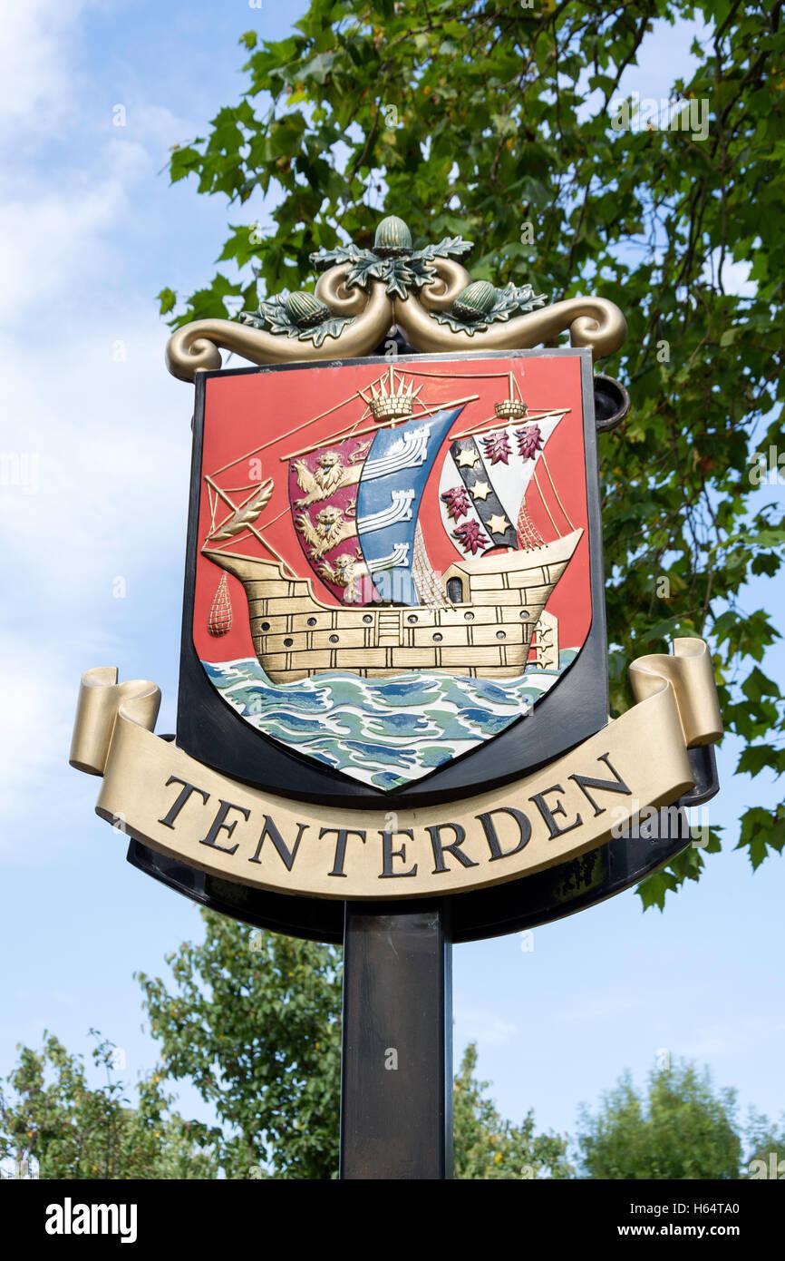 Tenterden sign, High Street, Tenterden, Kent, England, United Kingdom - Stock Image