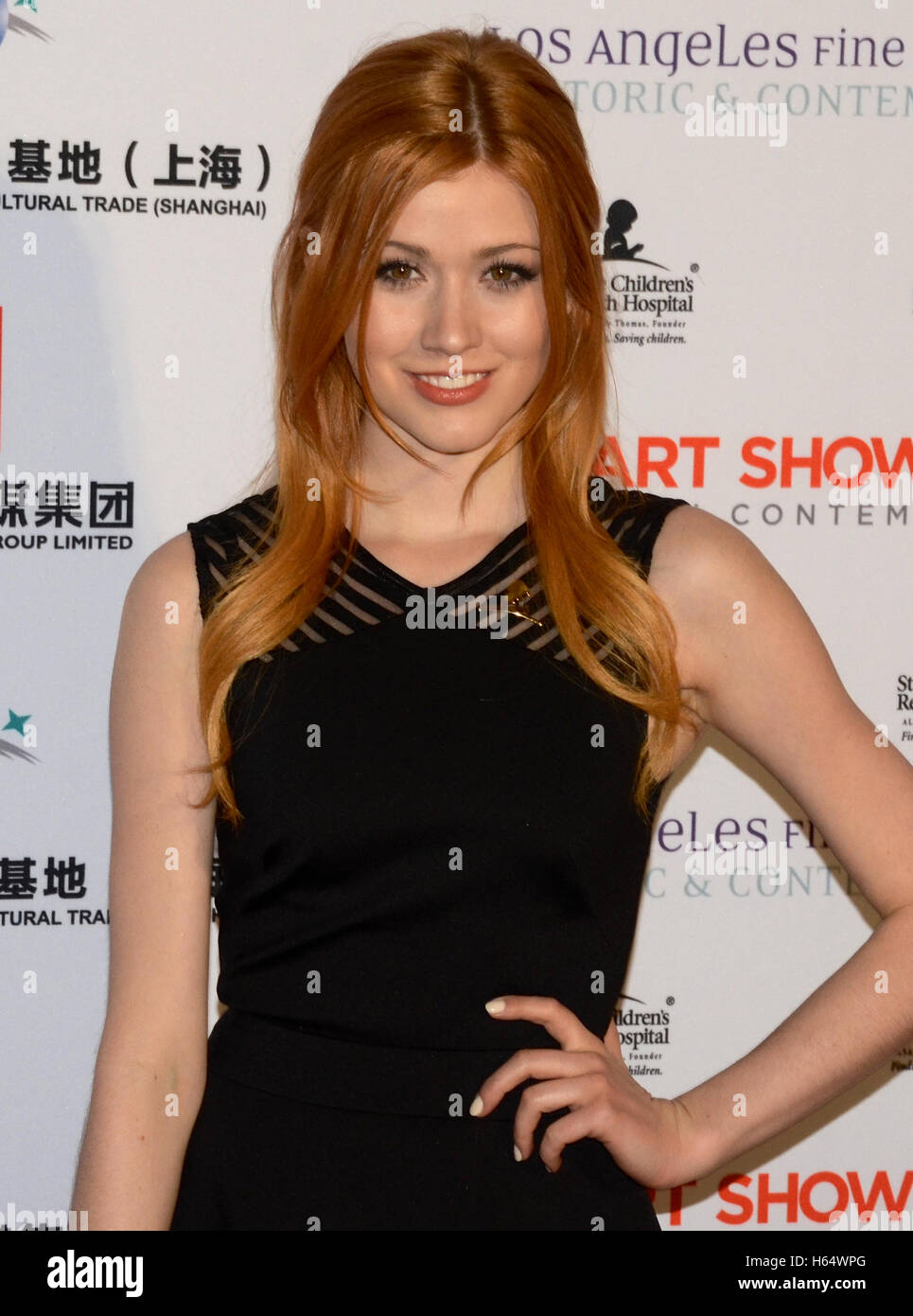 Katherine McNamara attends the LA Art Show 2016 at the LA Convention Center on January 27, 2016 - Stock Image