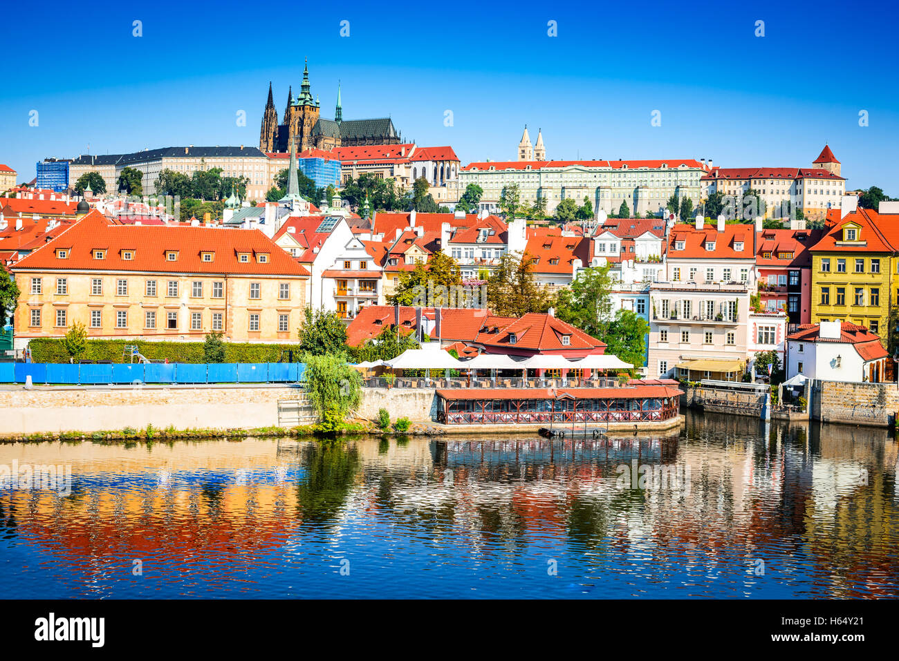 Prague, Bohemia, Czech Republic. Hradcany is the Praha Castle with churches, chapels, halls and towers from every - Stock Image
