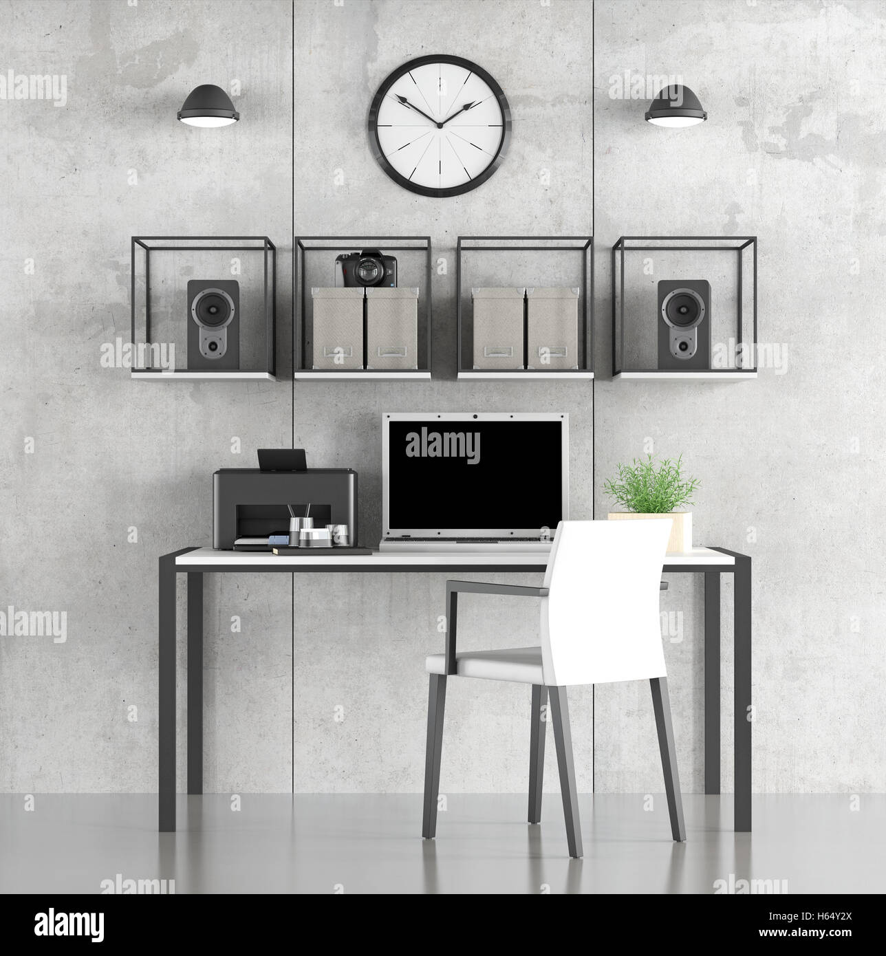 Black And White Study Room With Minimalist Furniture On Concrete Stock Photo Alamy