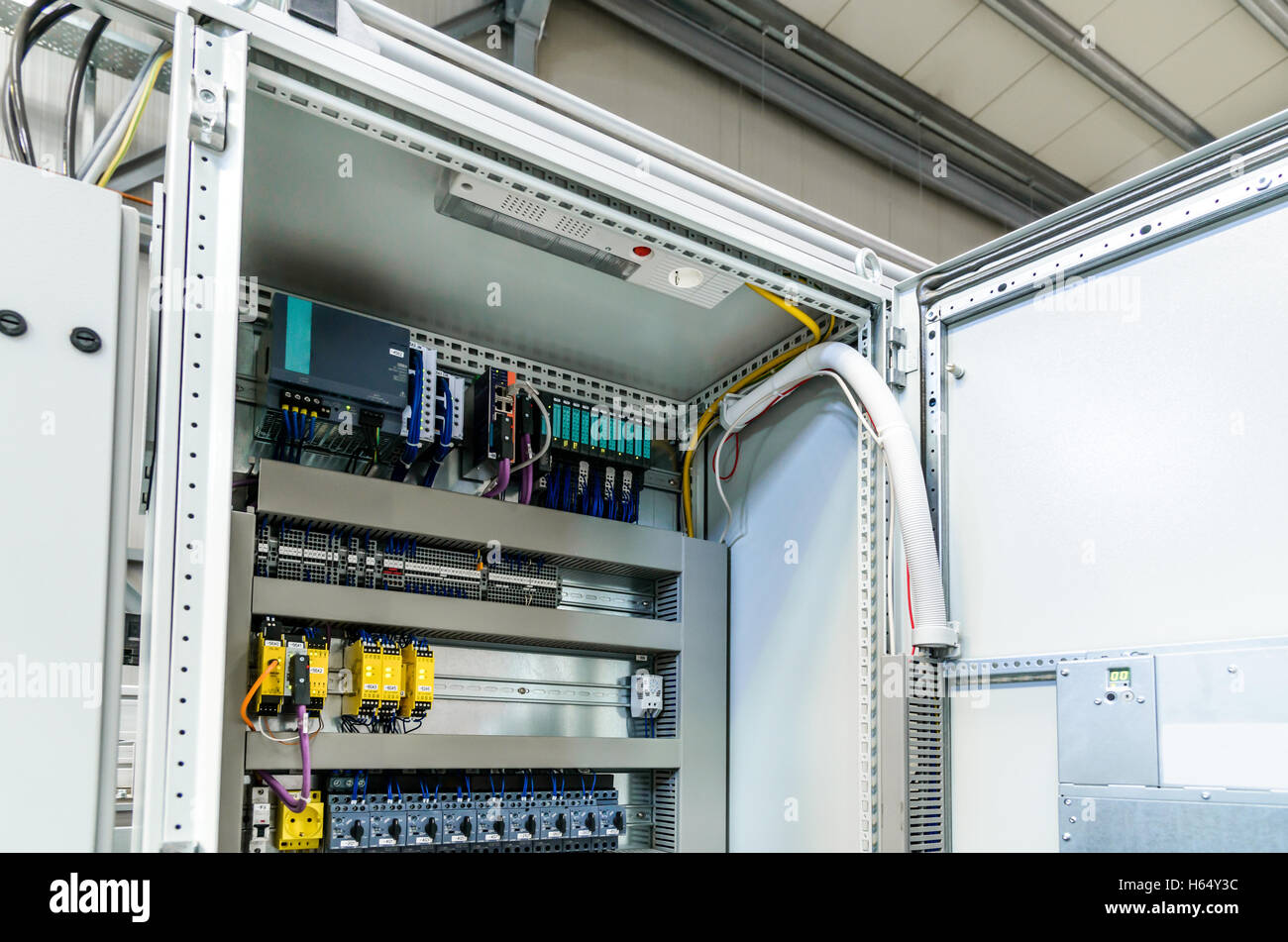 Electrical Panel Stock Photos Images Alamy Relay Automatic Programming Has Control Over Power Lines Located Inside Of The Switch