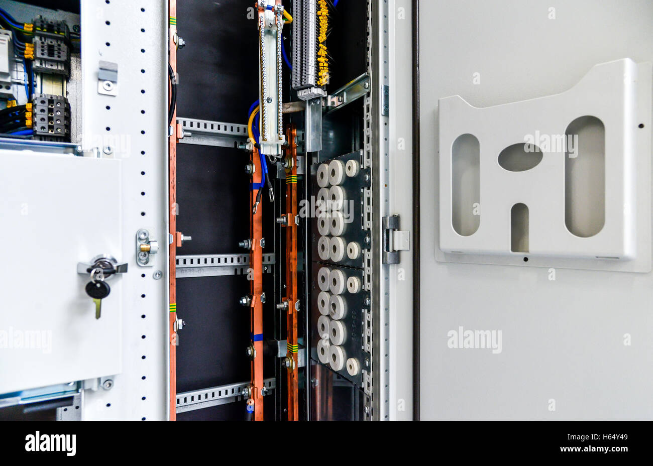 Low-voltage cabinet for power and distribution electricity. Uninterrupted, electrical voltage. - Stock Image