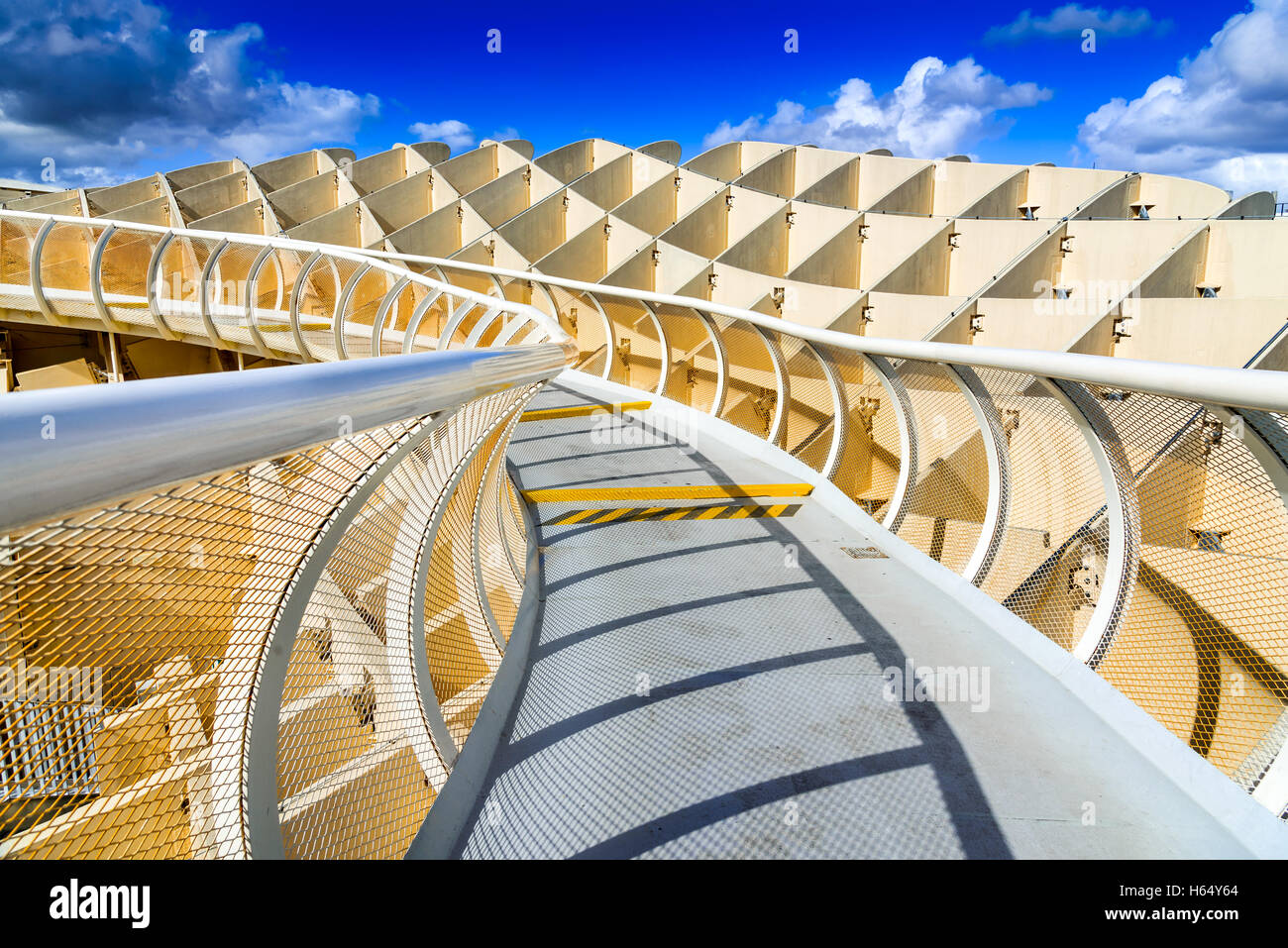 Seville, Spain. Metropol Parasol in Plaza de la Encarnacion. J. Mayer H. architects, it is made from bonded timber. - Stock Image