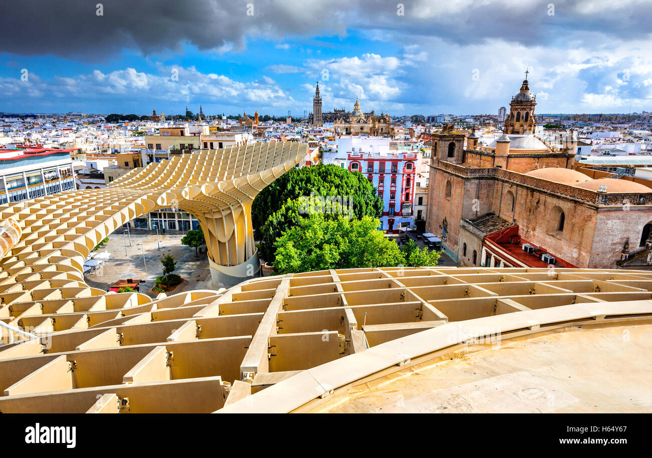 Seville, Spain. Aerial view from the Space Metropol Parasol (Setas de Sevilla) one have the best view of the city - Stock Image