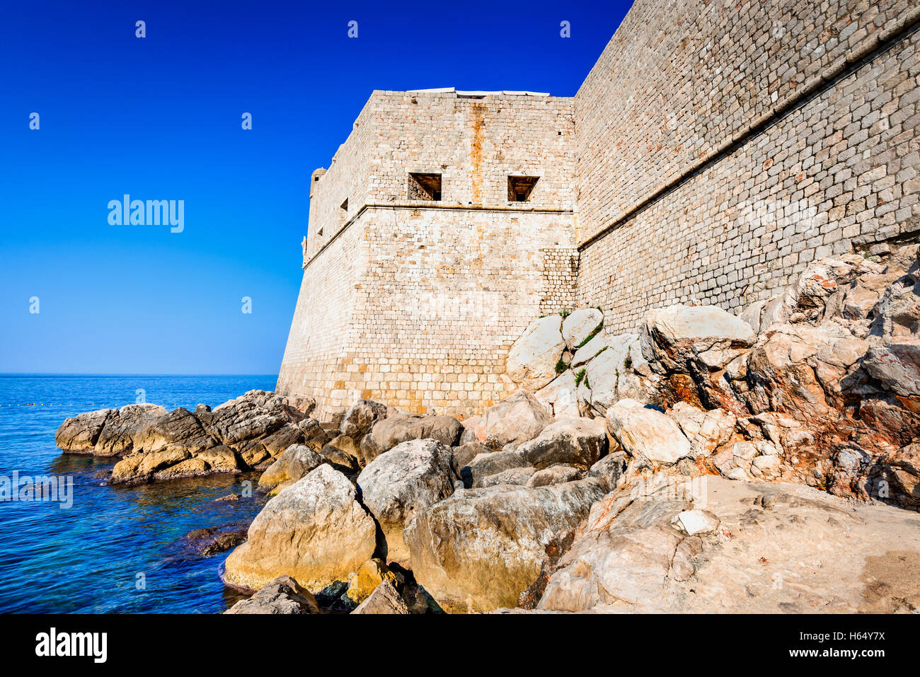 Dubrovnik, Croatia. Spectacular picturesque view on the old town of Ragusa, Dalmatia. - Stock Image