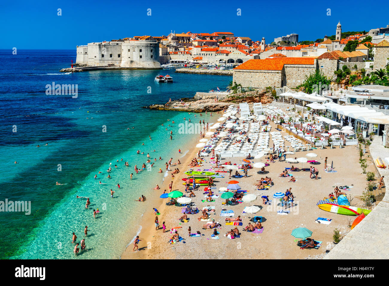 Dubrovnik, Croatia. Panoramic view on the old town (medieval Ragusa) and Dalmatian Coast of Adriatic Sea. - Stock Image