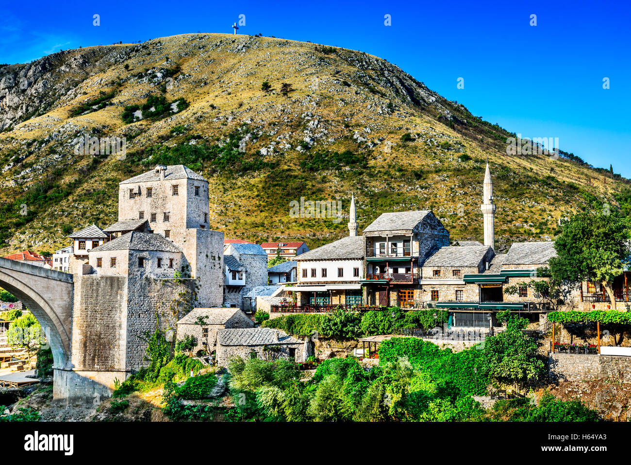 Mostar, Bosnia and Herzegovina. The Old Bridge, Stari Most, with emerald river Neretva. - Stock Image