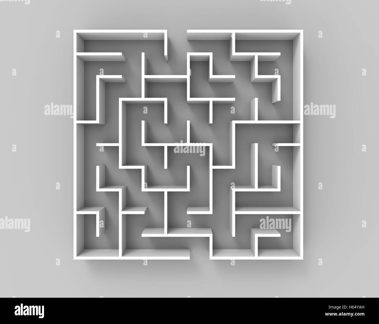 3d rendering maze, top view of square maze template isolated on ...