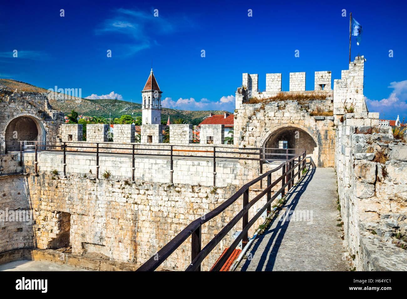 Trogir, Croatia. Old medieval fortress of Trogir on Dalmatian Island, Split city region. Stock Photo