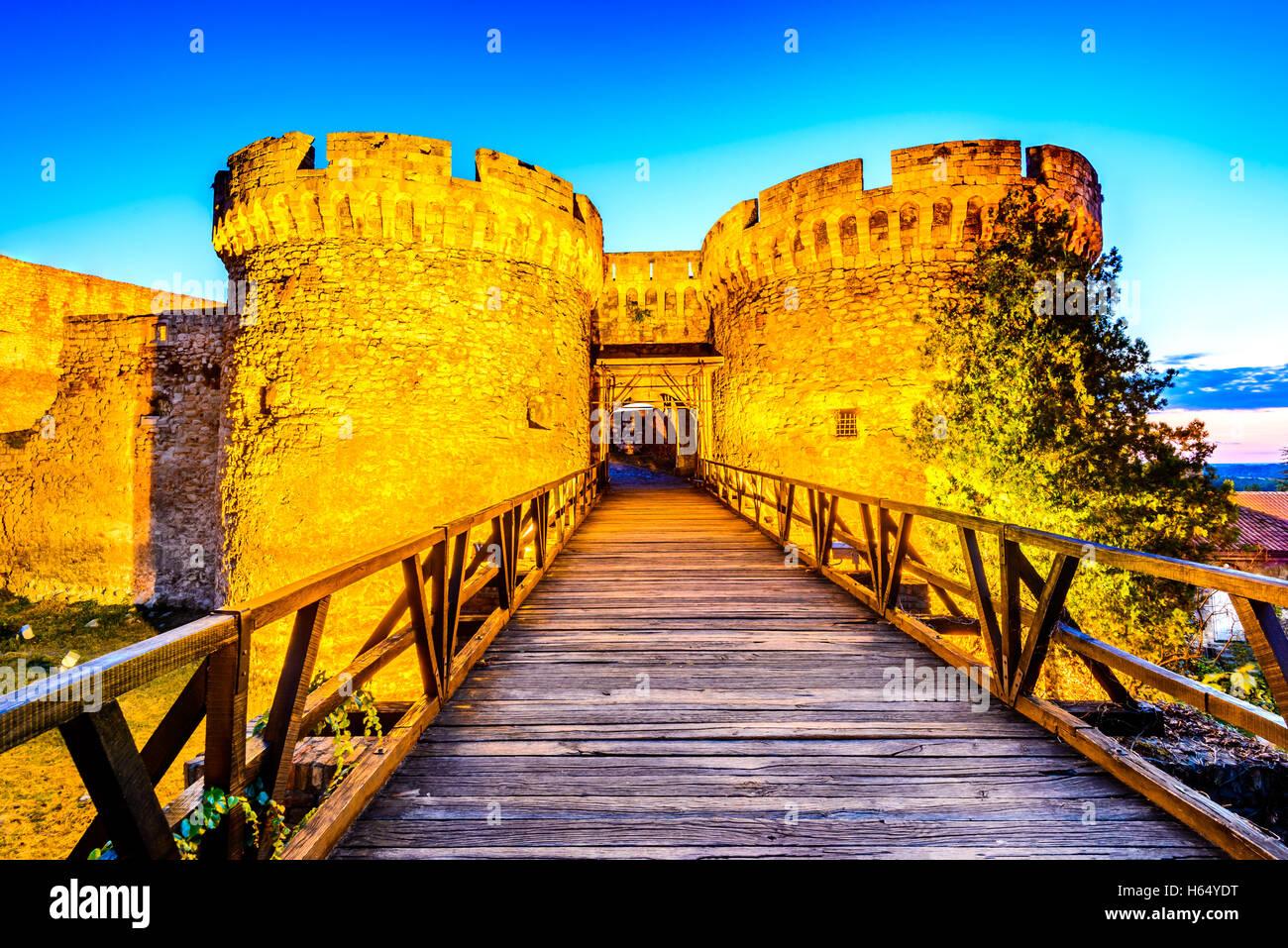 Belgrade, Serbia. Kalemegdan Fortress in the night, ancient Singidunum. Most important historical Serbian capital - Stock Image
