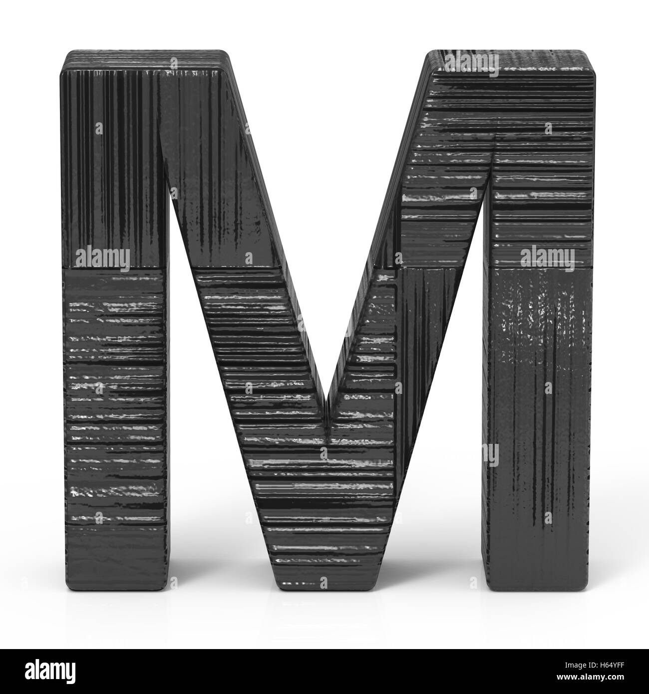 3d rendering black wooden letter m isolated white background