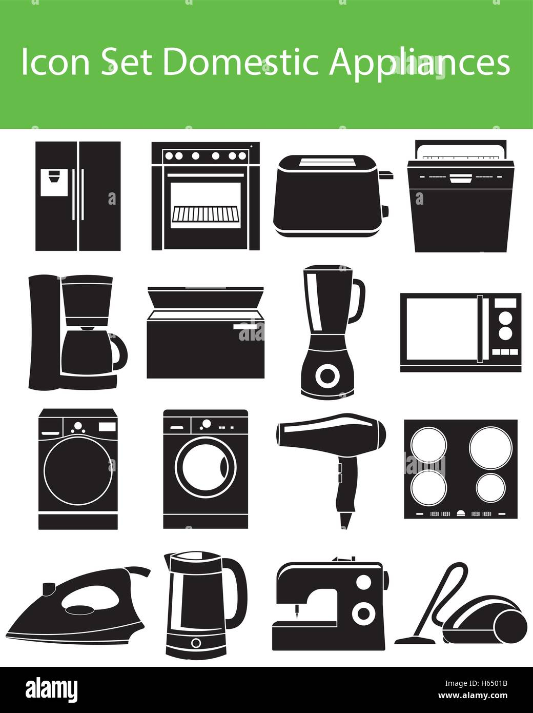 Icon Set Domestic Appliances I with 16 icons for the creative use in graphic design - Stock Image
