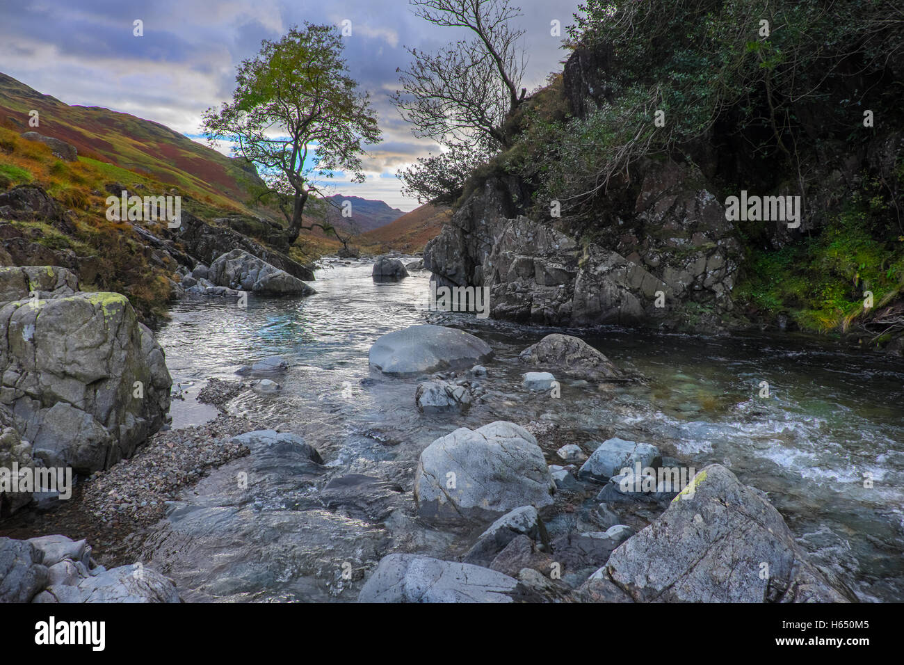 The River Esk in the upper reaches of Eskdale in the Lake District National Park,Cumbria - Stock Image