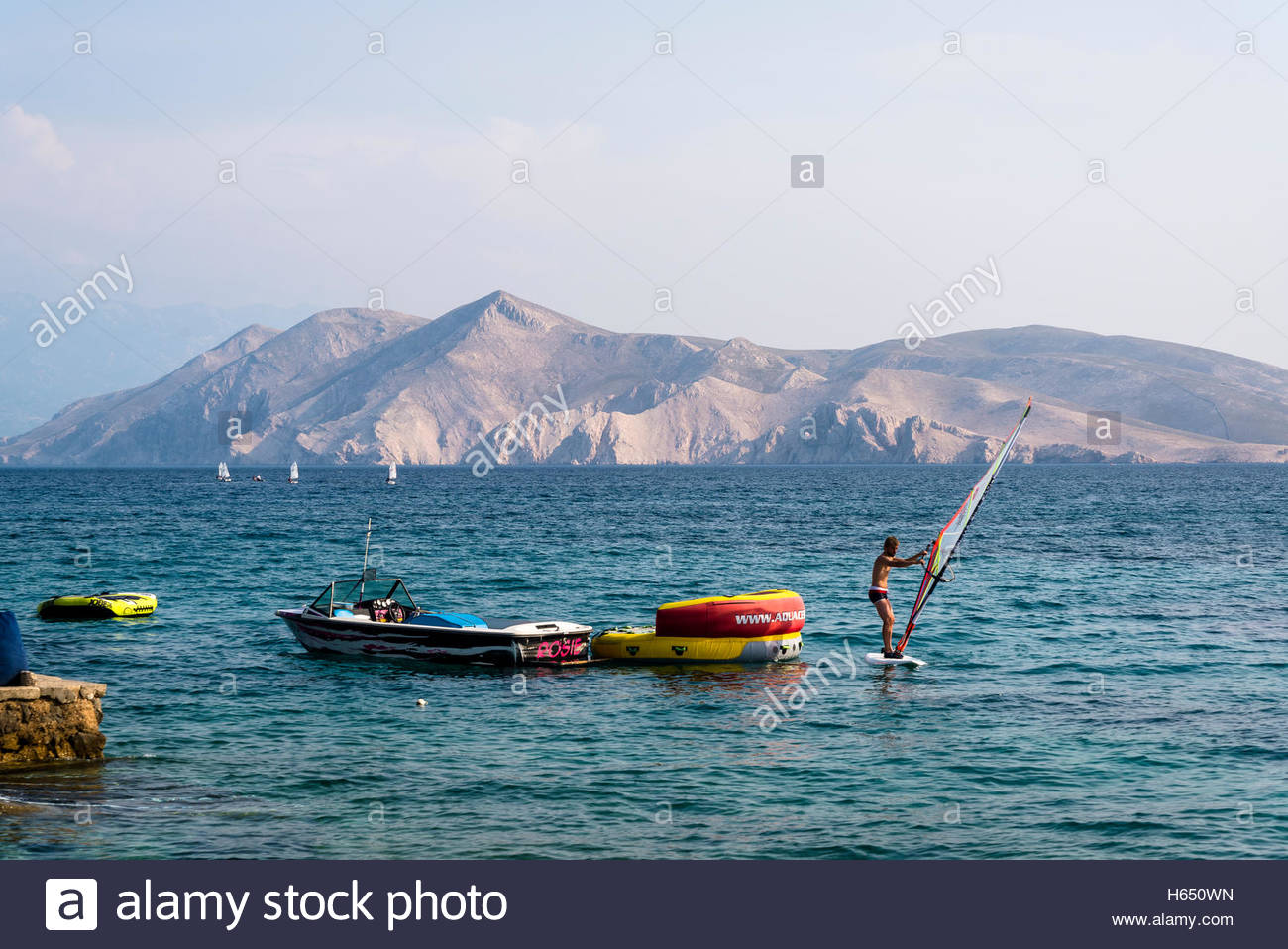 Windsurfing, Baska, Island of Krk, Croatia - Stock Image