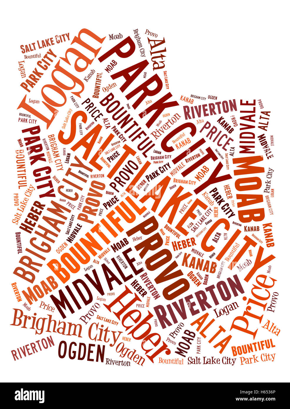 Word Cloud showing various cities in the state of Utah - Stock Image