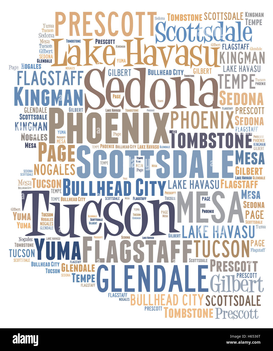 Word Cloud showing various cities in the state of Arizona - Stock Image