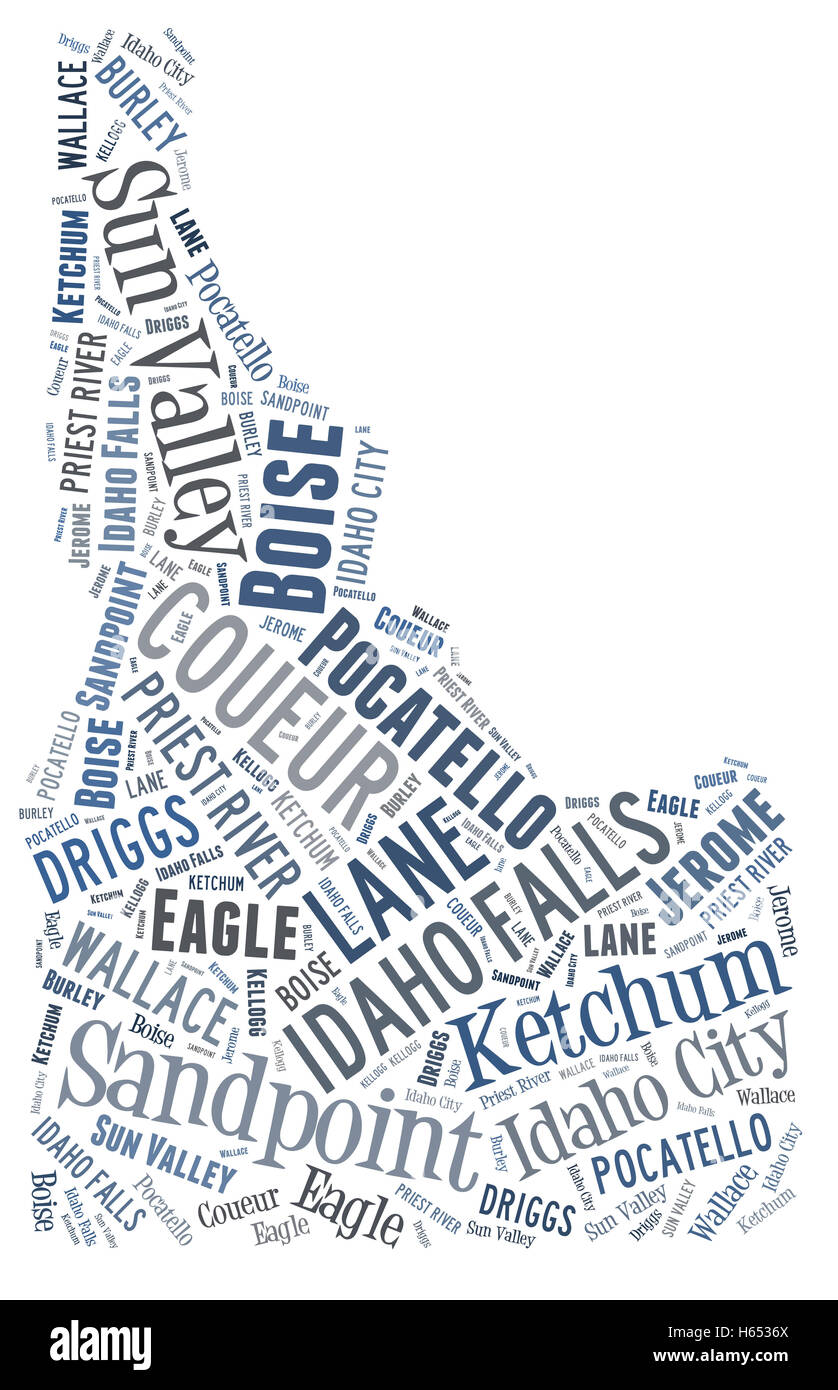 Word Cloud showing various cities in the state of Idaho - Stock Image