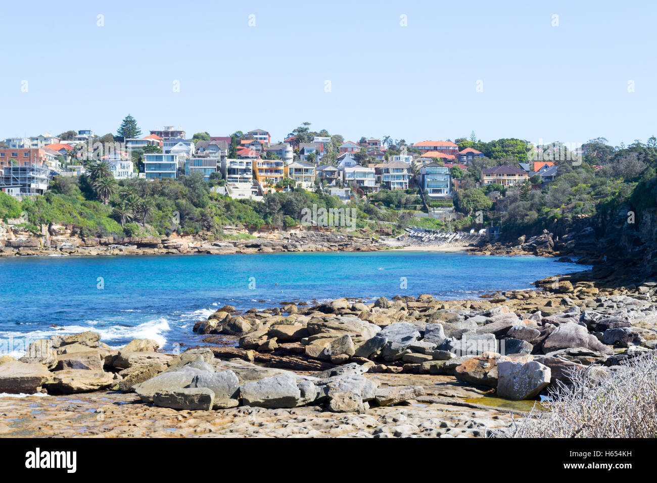 Bondi to Coogee walk is 6 km long located in Sydneys eastern suburbs Stock Photo