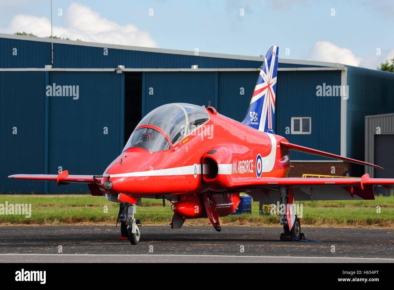 Red Arrows Hawk parked at Biggin Hill Air Show 2014 - Stock Image