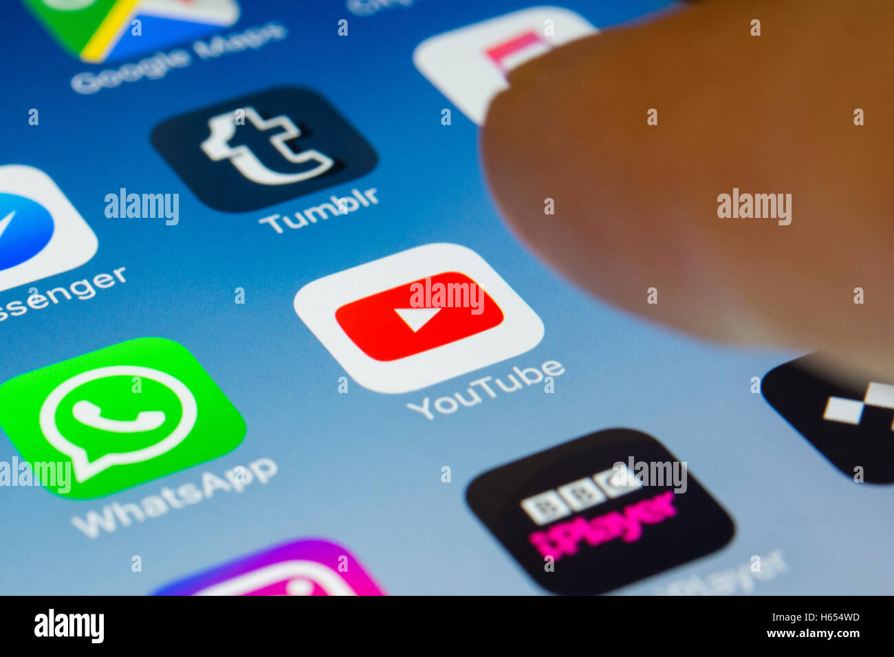 Youtube movie sharing and streaming app close up on iPhone smart phone screen - Stock Image
