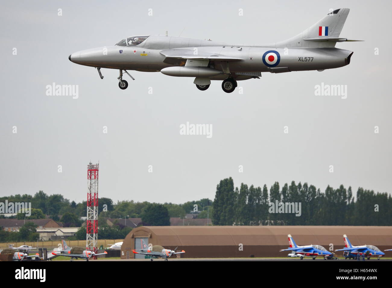 Hawker Hunter T.7 XL577 made an appearance at RIAT 2014 at RAF Fairford, UK - Stock Image
