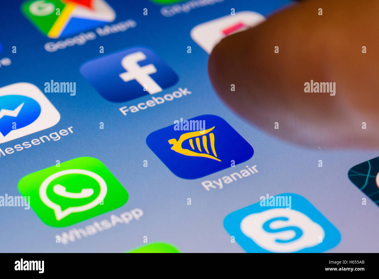 Ryanair budget airline flight booking app close up on iPhone smart phone screen - Stock Image