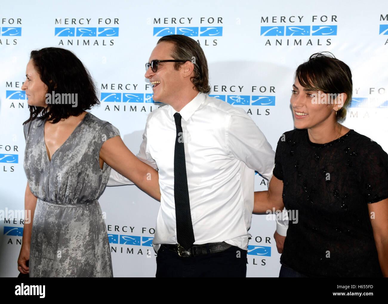Rain Phoenix, Joaquin Phoenix and Summer Phoenix attends the Mercy For Animals Hidden Heroes Gala at Unici Casa - Stock Image