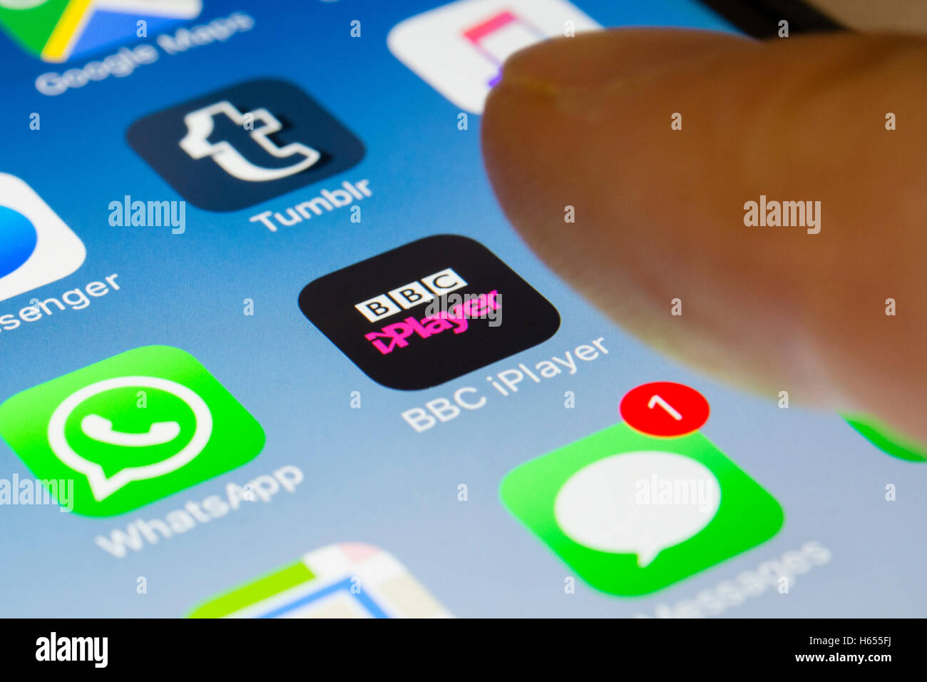 BBC iPlayer tv streaming service app close up on iPhone smart phone screen - Stock Image