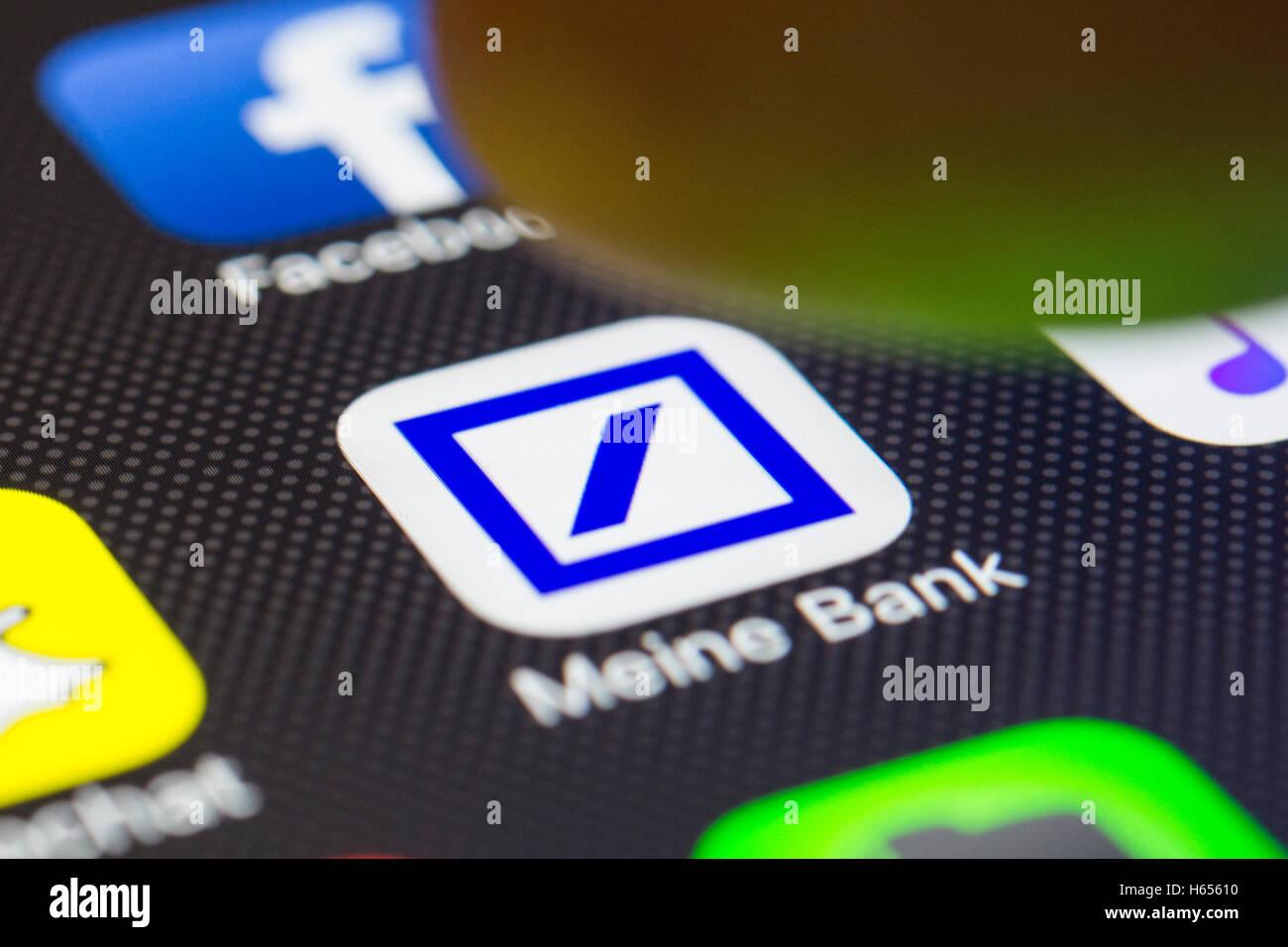 Deutsche Bank online banking app close up on iPhone smart phone screen - Stock Image