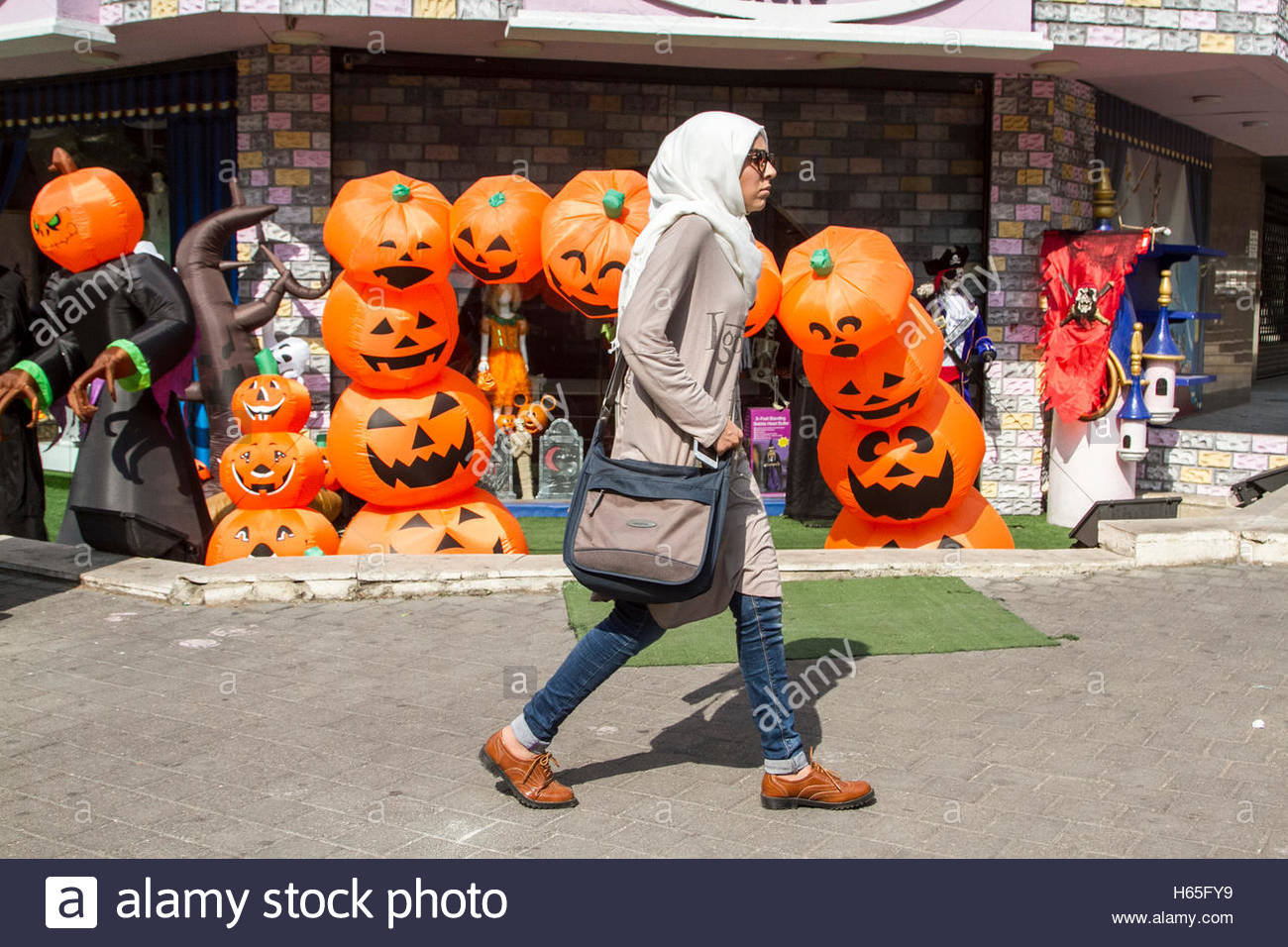 A Shop Selling Halloween Costumes And Decorations Including Masks Of  Pirates And Pumpkins As Beirut Gets Into The Halloween Spirit Credit: Amer  ...
