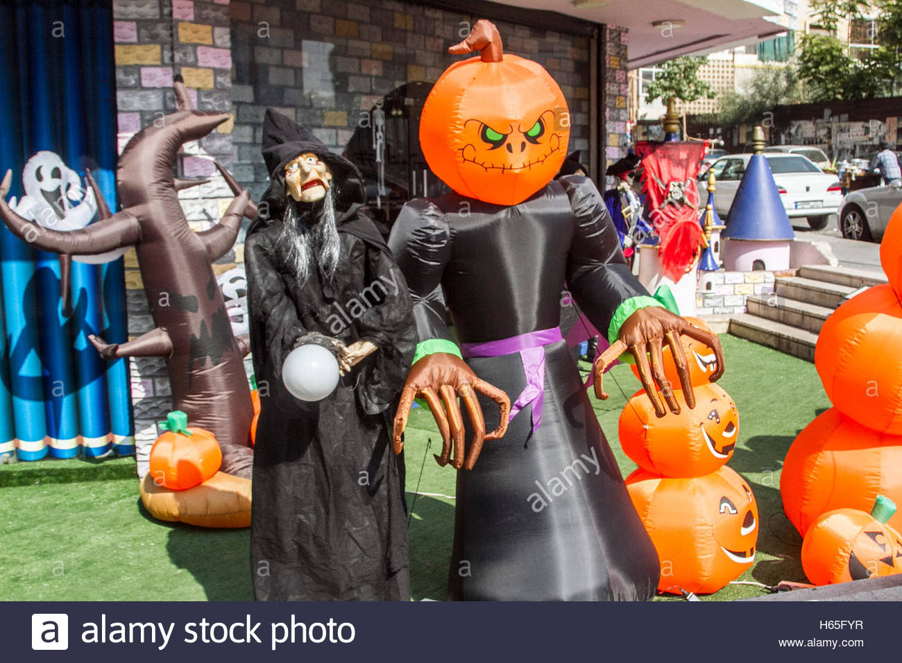a shop selling halloween costumes and decorations including masks of pirates and pumpkins as beirut gets into the halloween spirit credit amer
