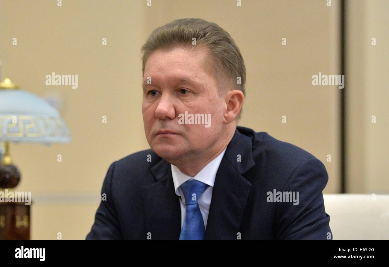 Gazprom CEO Alexey Miller during a meeting with Russian President Vladimir Putin at the presidents country residence - Stock Image