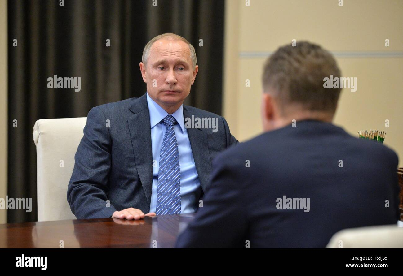 Russian President Vladimir Putin during a meeting with the CEO of Gazprom Alexey Miller at the presidents country - Stock Image