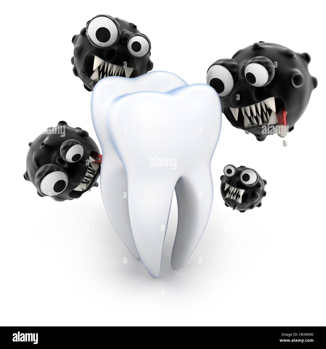 tooth attack microbe (done in 3d rendering) - Stock Image