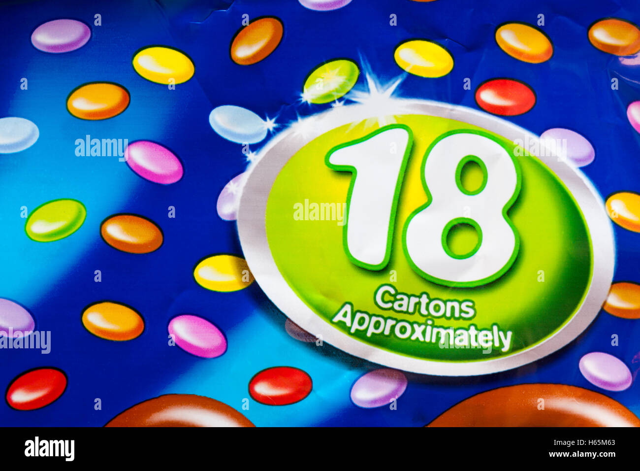 18 cartons approximately - information on Multipack of treat size Nestle mini Smarties - Stock Image