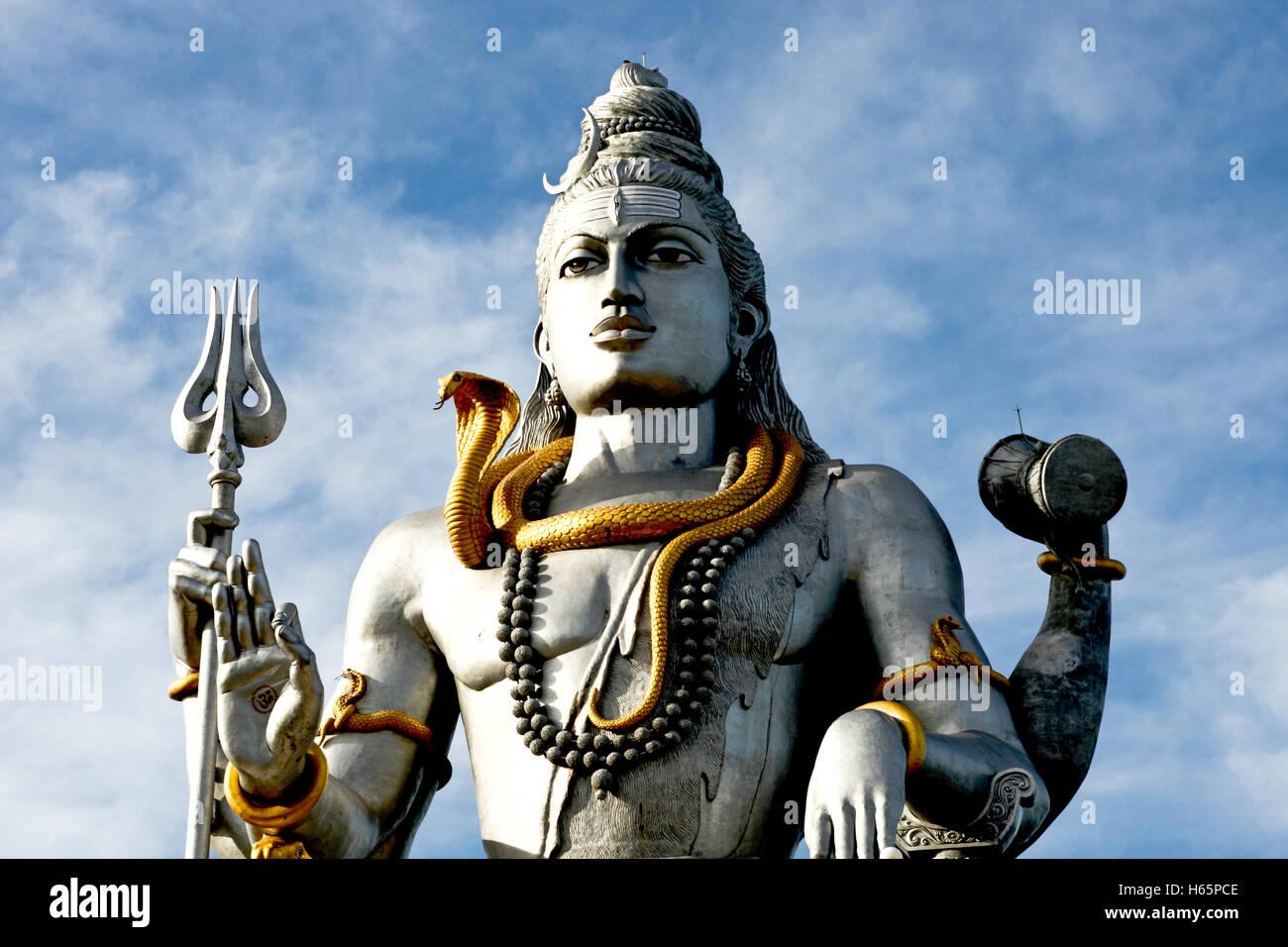 Statue of Lord Shiva at Murudeshwara temple in Karnataka - Stock Image