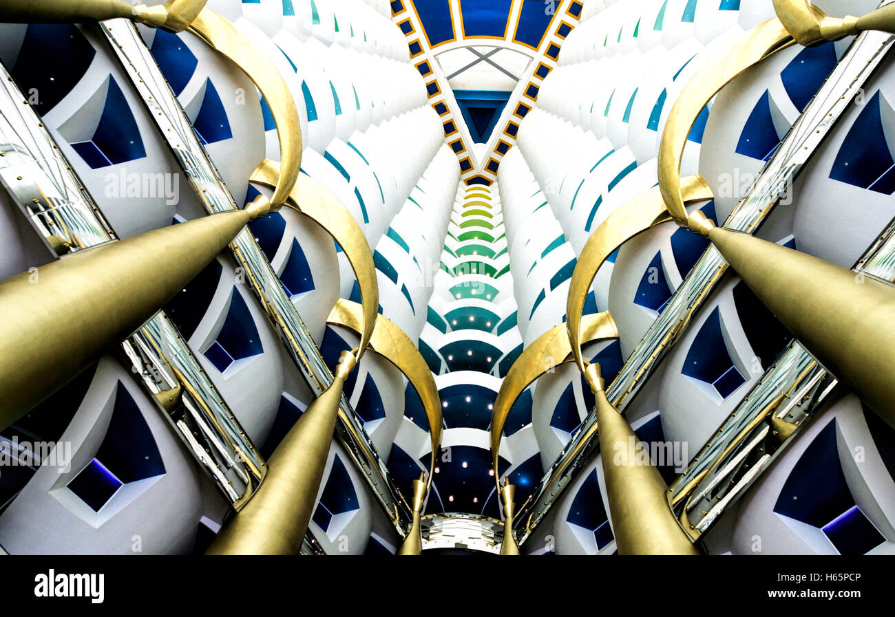 Atrium in the Burj Al Arab hotel, Dubai - Stock Image