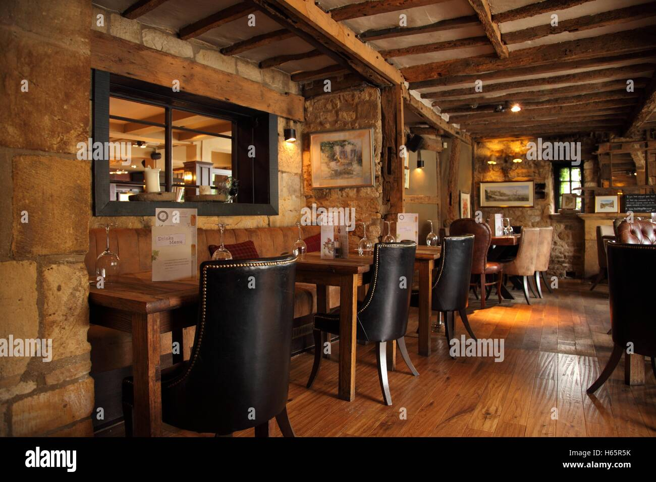 Interior Of A Country Pub With Wooden Floor Beams Olde