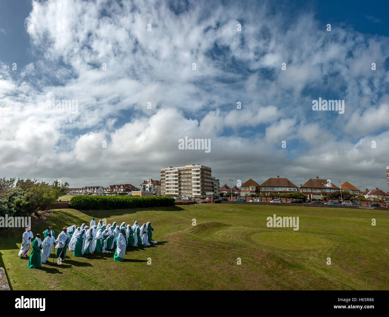Religious service taking place on a pitch-and-putt course in Hove. NB THIS IS A PHOTOMERGE OF SEVERAL FRAMES - Stock Image