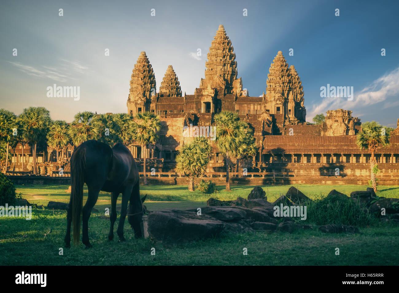 Beautiful view of Angkor Wat Temple, Cambodia, Southeast Asia Stock Photo