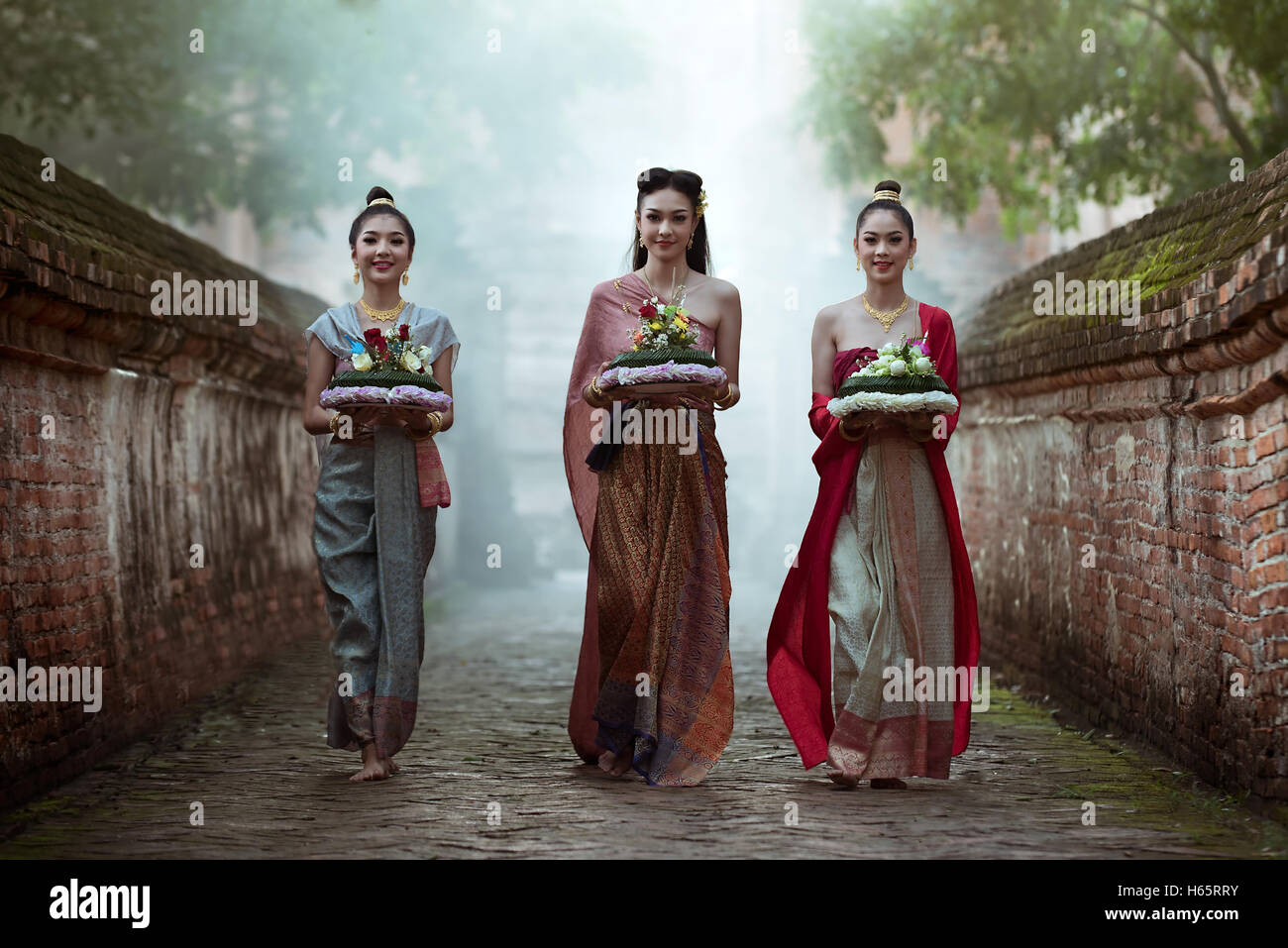 Noppamas Queen Contest in Loy kratong tradition. Thai woman in Thai dress traditional. Stock Photo
