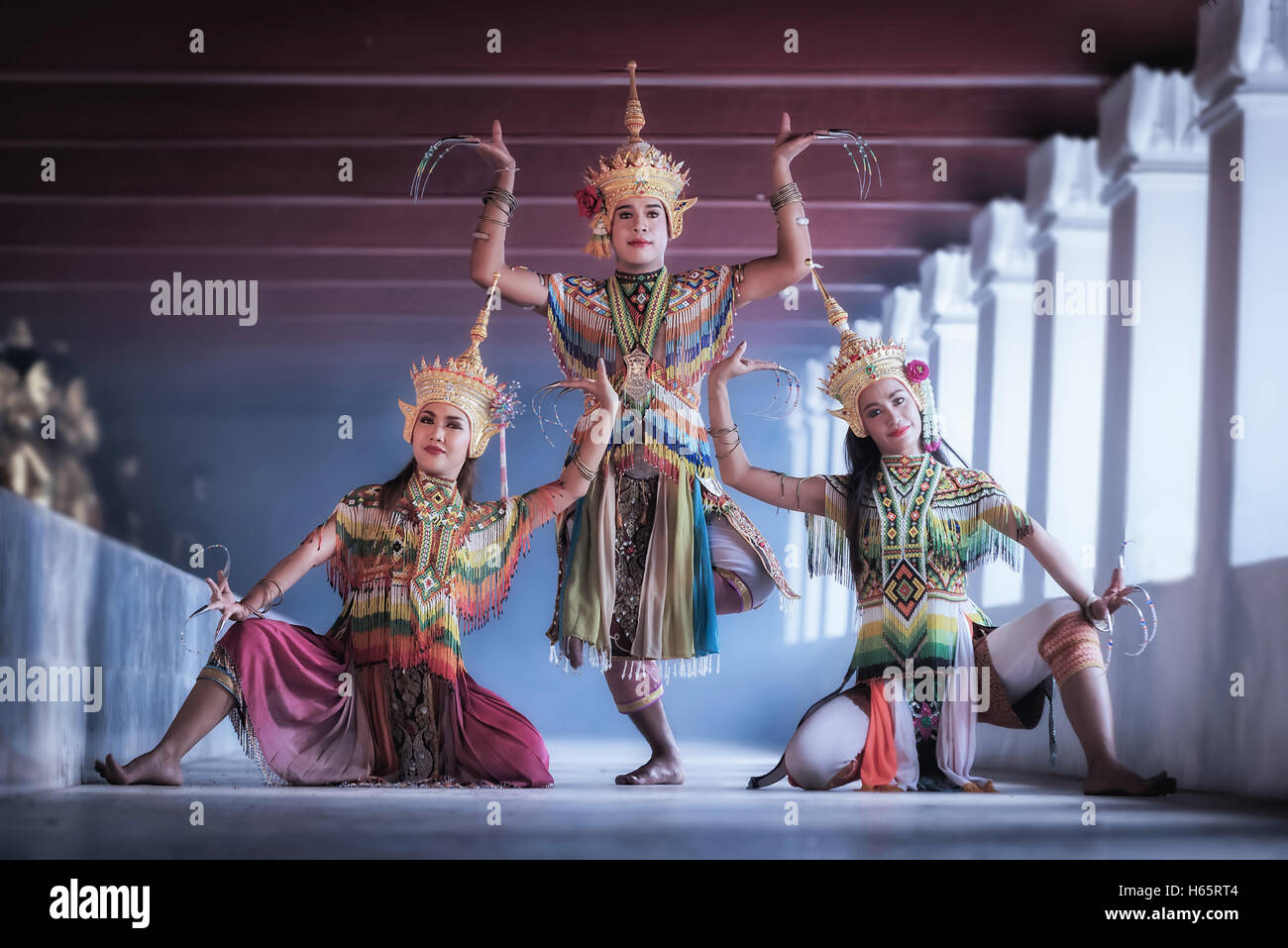 Manohra models : MANOHRA is folk dance in South of Thailand at Temple in Surat Thani Province, Thailand - Stock Image