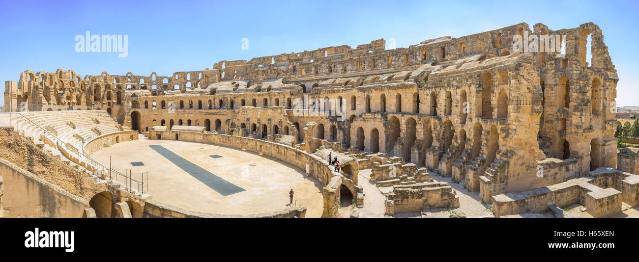 The Tunisia Colosseum is the notable landmark showing the welth and rich of the ancient civilization, El Jem Tunisia - Stock Image