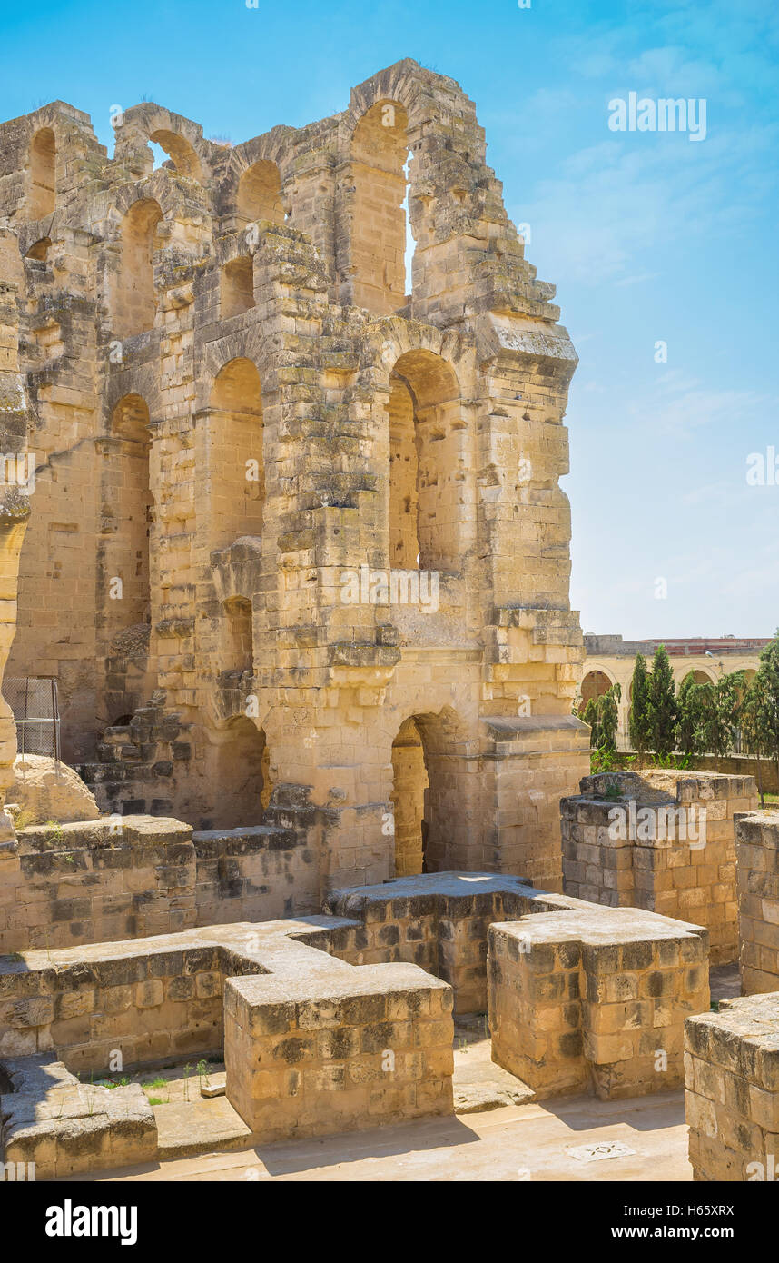 The roman arena is one of the most visitable and popular places in country, El Jem Tunisia - Stock Image