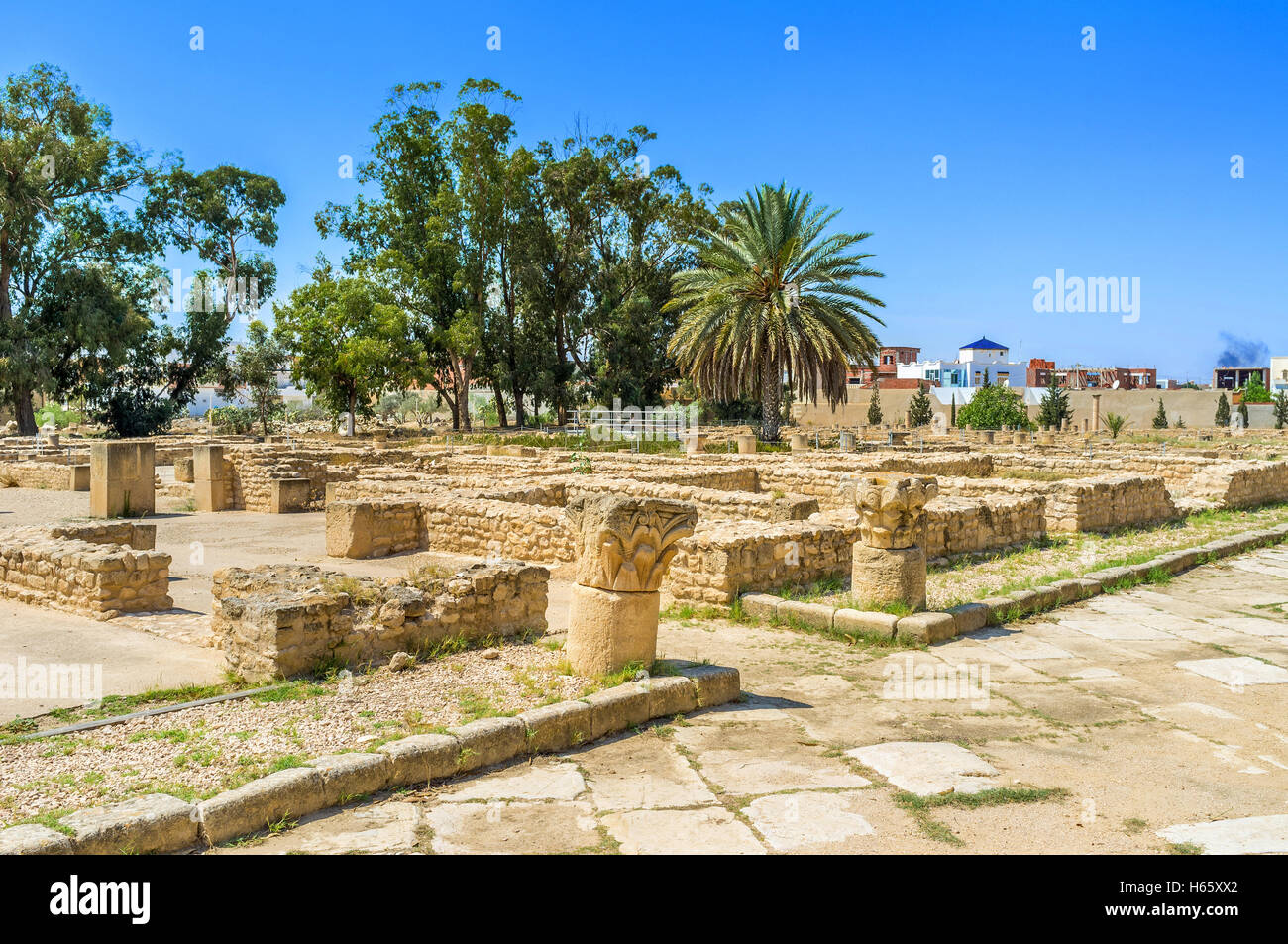 Many Tunisian towns boast archaeological sites and museums with Punic and Roman antiquities, EL Jem is not exception, - Stock Image
