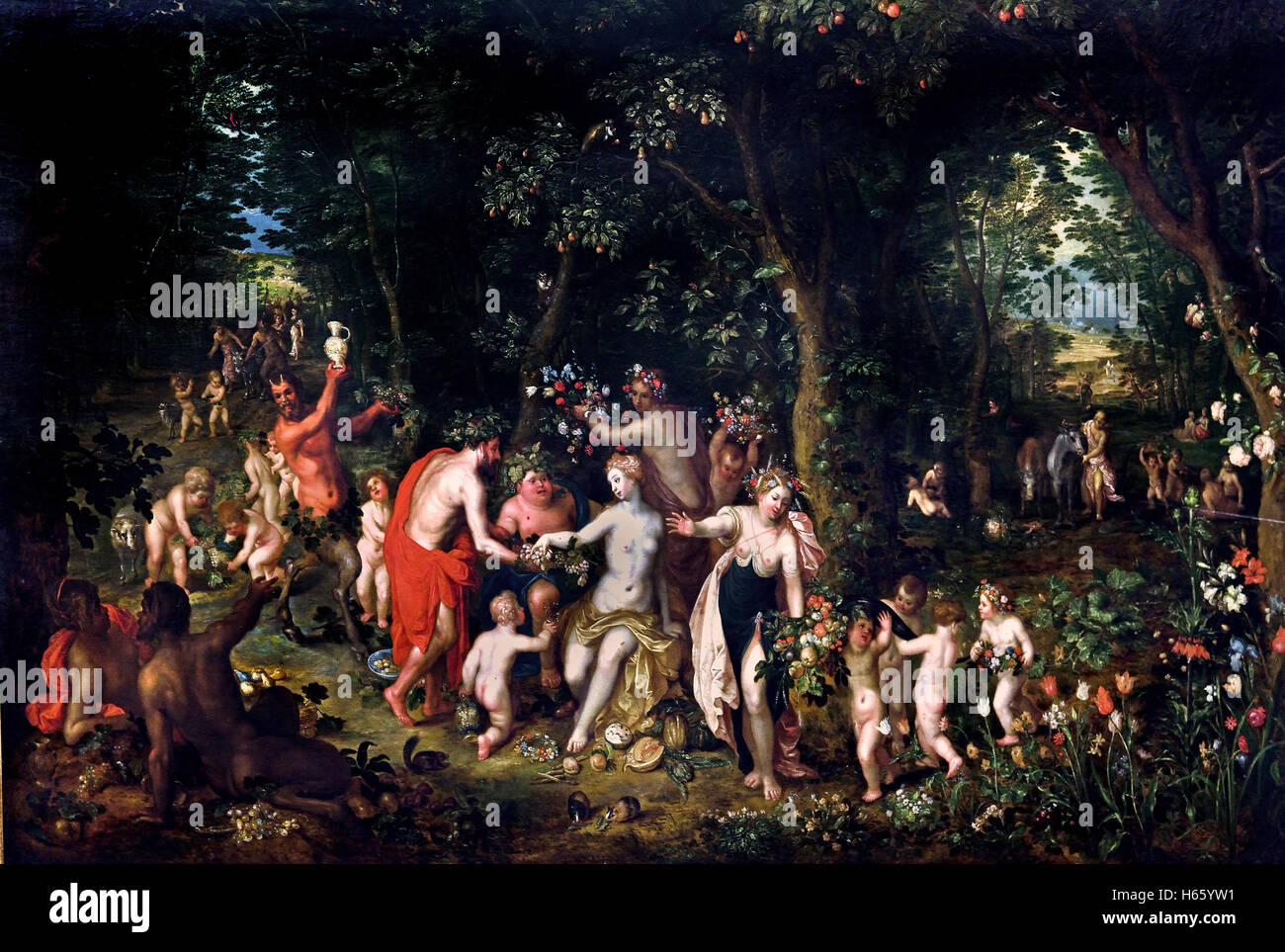 The Feast of Bacchus by Jan Bruegel the Younger 1601-1678  Flemish Belgian Belgium ( Bacchus is the Roman name for Stock Photo