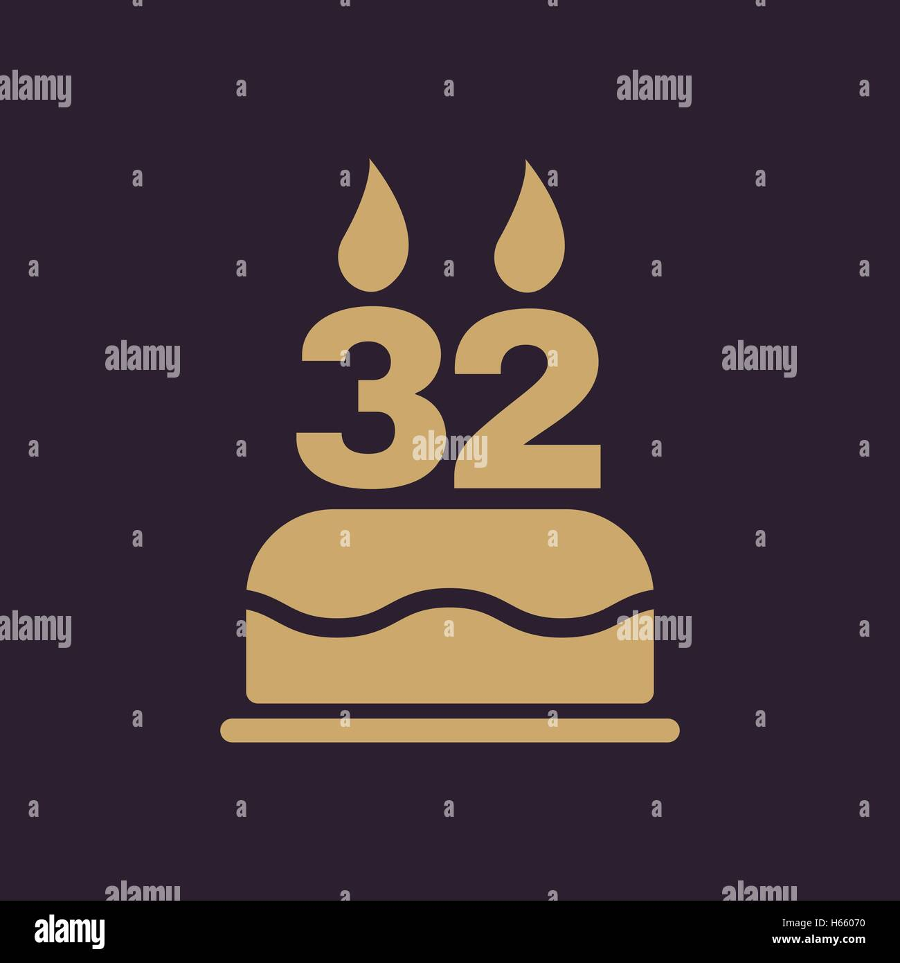 The Birthday Cake With Candles In The Form Of Number 32 Icon Stock