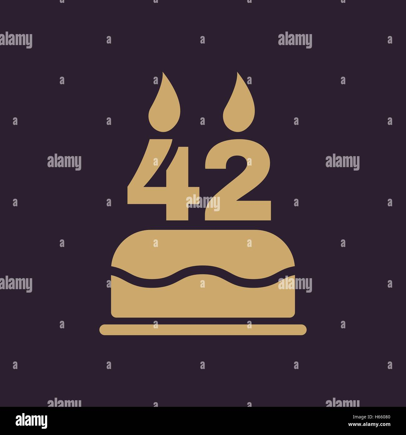 Miraculous The Birthday Cake With Candles In The Form Of Number 42 Icon Stock Funny Birthday Cards Online Fluifree Goldxyz